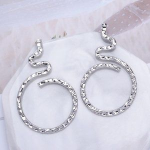 5 for $25 Textured Metal Snake Statement Earrings